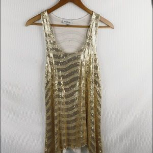 Bebe Sequined gold stripes tank top